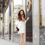 White dress and red sandals