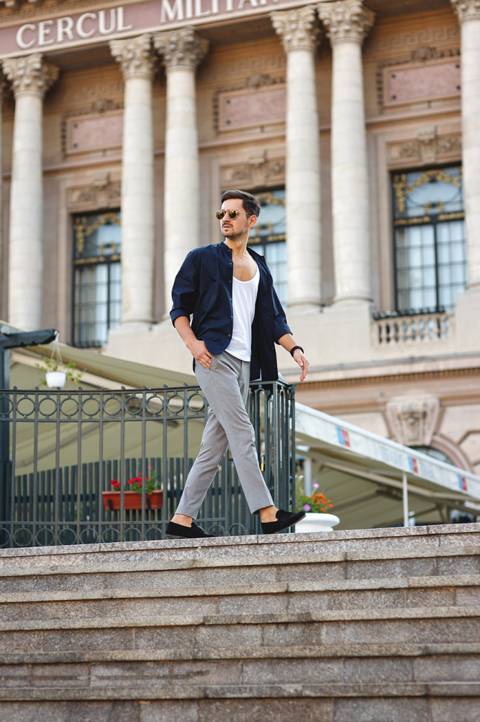 grey pants adrian sunriseinc navy shirt outfit black loafers round sunglasses fashion blogger romanian