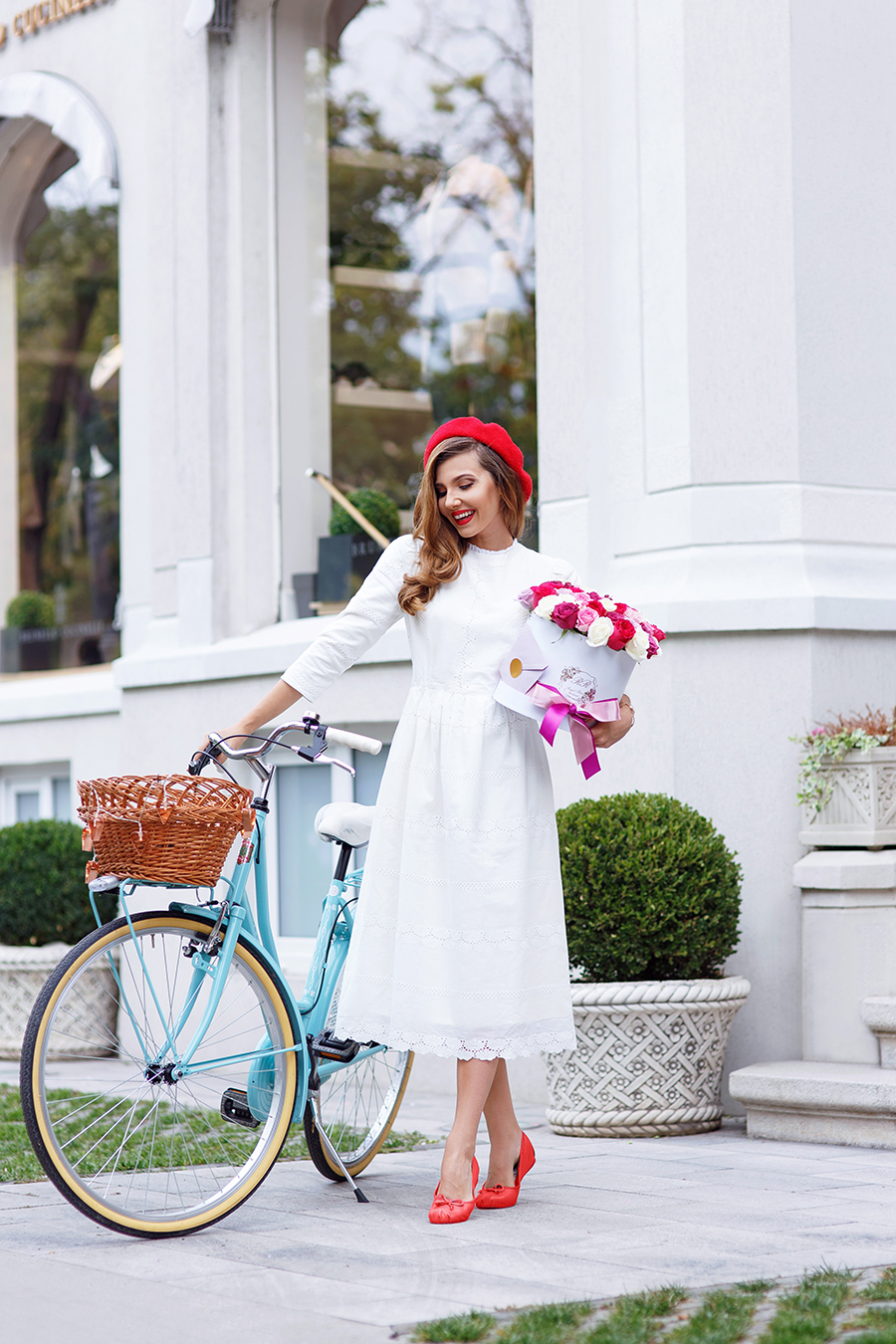 larisa costea, larisa costea blog, the mysterious girl, the mysterious girl blog, fashion blog, blogger, fashion, fashionista, it girl, travel blog, travel, traveler, ootd, lotd, outfit inspiration,look of the day,outfit of the day,what to wear, dainty,dainty jewells, white dress,midi dress,eyelet dress,lace dress, red flats, ballerinas, red beret, royal roses, roses box, bicitalia,bike, blue bike, chic look,parisian chic,french chic,henry london,henry watch