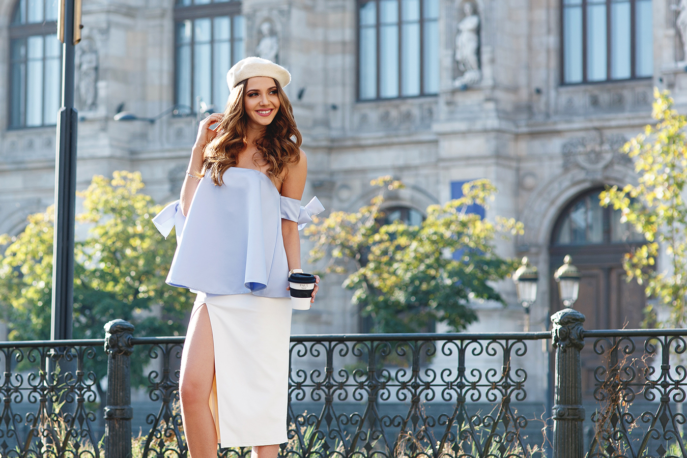 larisa costea, larisa costea blog, the mysterious girl, the mysterious girl blog, fashion blog, blogger, fashion, fashionista, it girl, travel blog, travel, traveler, ootd, lotd, outfit inspiration,look of the day,outfit of the day,what to wear, paris, little paris, french chic,french style,chicwish,chicwish top, off the shoulder top,bow sleeves,white skirt, cone skirt, beige sandals, beige beret, french beret, paul,brutariile paul, mvmt watch,white watch,bucharest