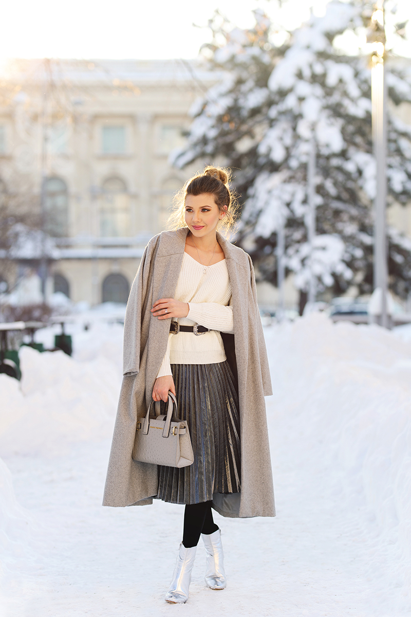 larisa costea, larisa costea blog, the mysterious girl, the mysterious girl blog, fashion blog, blogger, fashion, fashionista, it girl, travel blog, travel, traveler, ootd, lotd, outfit inspiration,look of the day,outfit of the day,what to wear, chicwish, winter look, big snow,coldweather,cold weather outfits, snow everywhere, big snow, white sweater,chicwish sweater, bow details sweater, silver skirt,silver pleted skirt,shein skirt,shein belt,double buckle belt, black belt, snooze boots,silver boots, kurt geiger ankle boots, black stockings. grey coal, wool coat, shein coat,oversized coat, grey bag, ostrich ldn tote, kurt geiger bag, couple photos, couple pics, power couple, snow photoshooying, couple shoot snow, lights, christmas lights, sunnies, winter sunnies,shein sunglasses, adrian sunrise inc, sunriseinc, winter,january, january looks, super cold weather look