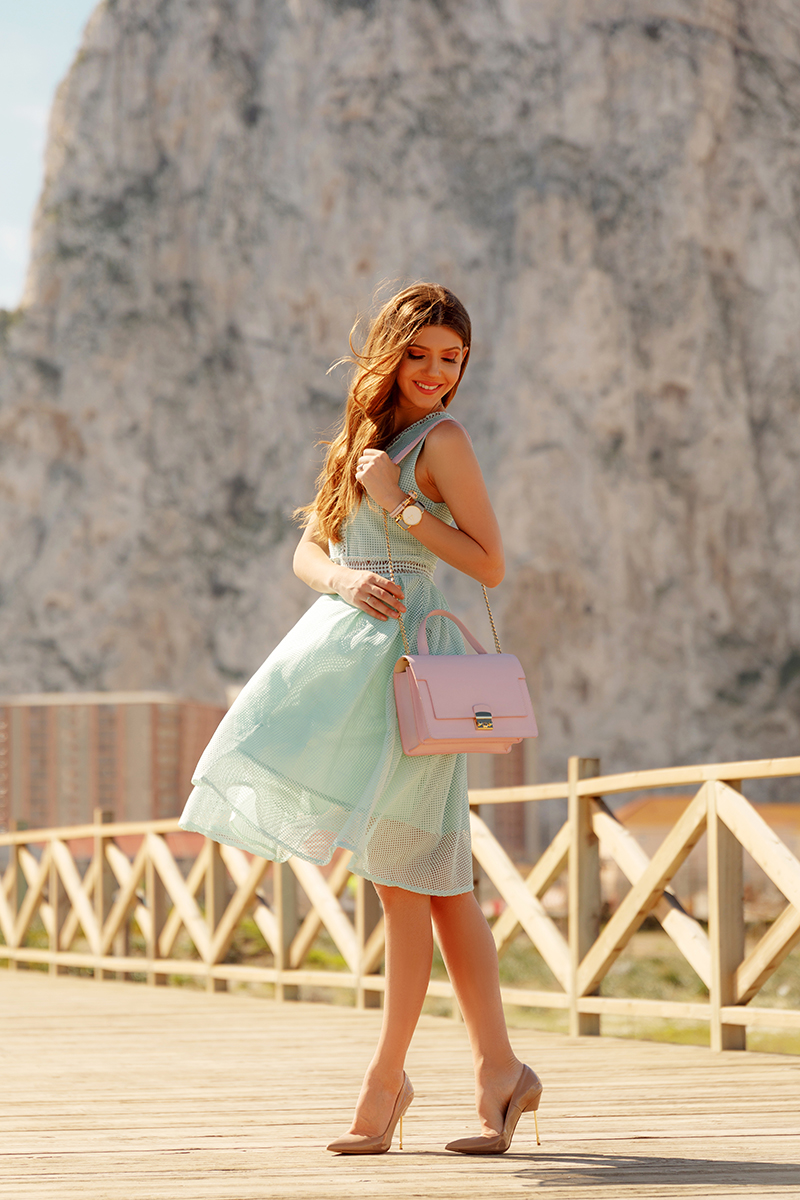 larisa costea, larisa costea blog, the mysterious girl, the mysterious girl blog, fashion blog, blogger, fashion, fashionista, it girl, travel blog, travel, traveler, ootd, lotd, outfit inspiration,look of the day,outfit of the day,what to wear, larisa in gibraltar, larisa in spain,gibraltar,rock of gibraltar, gibraltar rock, playa levante, bridge, sea, sand, sun, sunny spain,spain,south of spain, andalucia, andalusia, mint dress,green dress, chicwish dress,eyelet dress,lace dress, wild inga, wild inga bag, pastel bag, pink pastel,pastels, traveler, travel the world, paul hewitt,paul hewitt watch, get anchores, anchor bracelet, nude stilettos, nude heels,kurt geiger,kurt geiger shoes, travel experience,best destinations