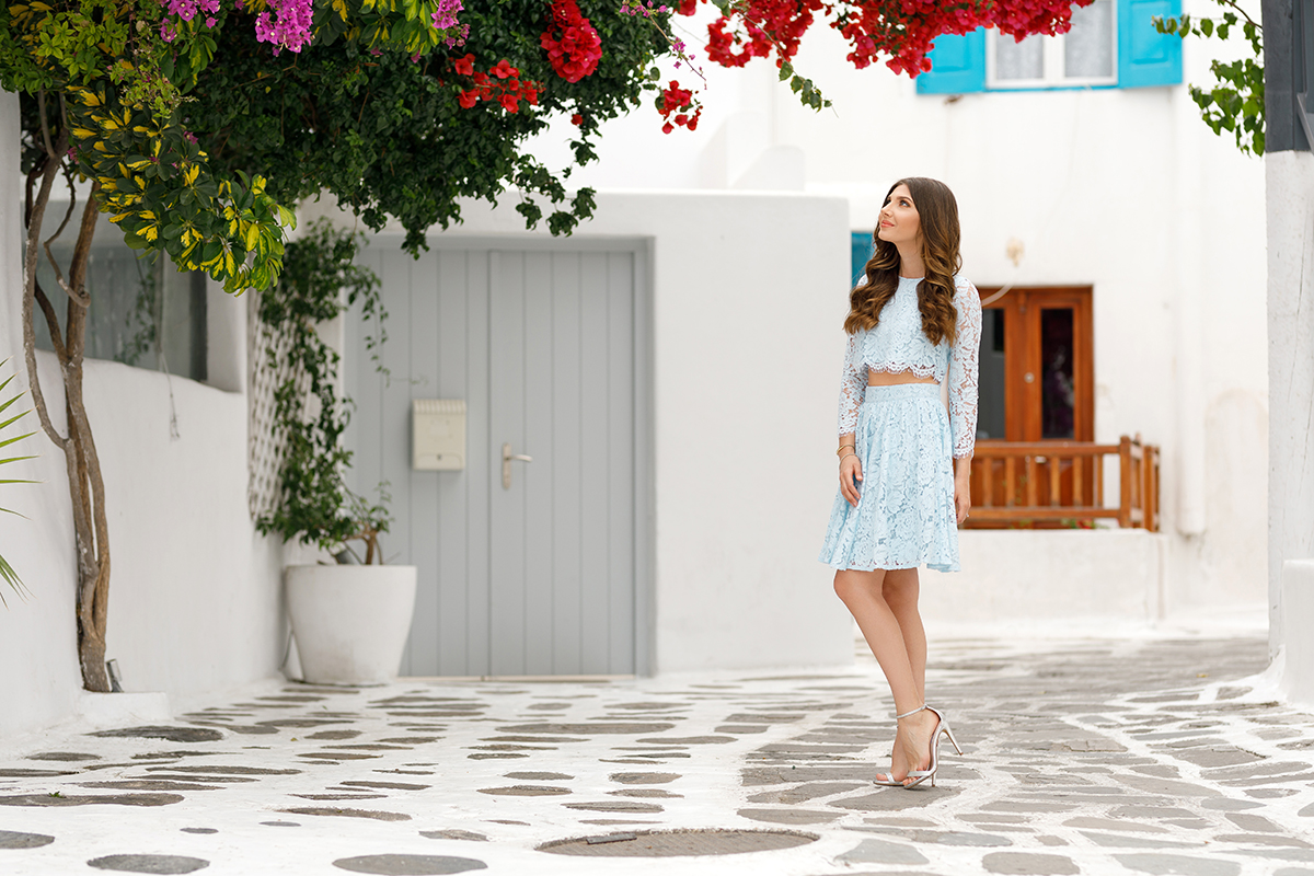 larisa costea, larisa costea blog, the mysterious girl, the mysterious girl blog, fashion blog, blogger, fashion, fashionista, it girl, travel blog, travel, traveler, ootd, lotd, outfit inspiration,look of the day,outfit of the day,what to wear, chicwish, chicwish blue lace dress,chicwish video, video in mykonos,kiklades, mykonos, greece,grecia, mikonos, traveltomykonos, fashion blogger in mykonos, blue lace co-ords, set, nude and red lace dress,flamingo pink dress, flamingo embroidery, bouganvillea, mykonos streets, white streets, always traveling, traveler,wanderer,wander, wanderlust, in mykonos, silver steve madden heels, windmill,windmills, striped blue and white set