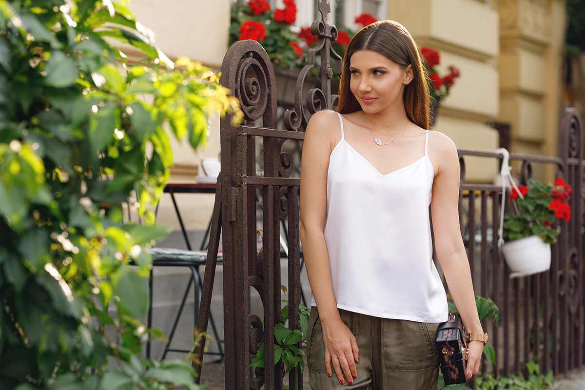 larisa costea, larisa costea blog, the mysterious girl, the mysterious girl blog, fashion blog, blogger, fashion, fashionista, it girl, travel blog, travel, traveler, ootd, lotd, outfit inspiration,look of the day,outfit of the day,what to wear, summer outfit, chic outfit, army inspiration, lilysilk, lily silk,mulberry silk, silk,pure silk, silk 100%, white cami top, white cami, silk cami, silk top, tuxedo blazer, zara, kurtmann,kurtmann.ro, zara army pants, zara silk pants, zara khaki pants, nude stilettos, patent shoes, kurt geiger britton, heels, nude pumps, louis vuitton, clutch, straight hair, shein glasses, clear lens, street style, casual chic, bucharest streets, bucharest style