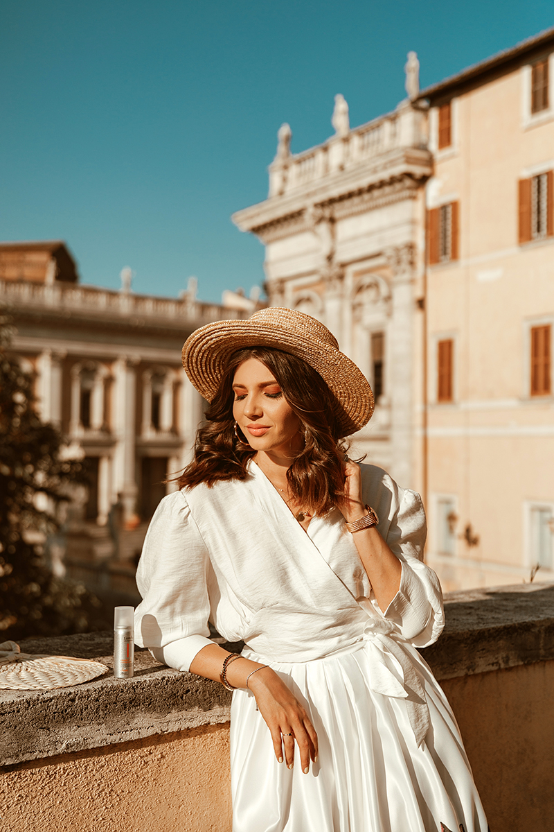 larisa costea, larisa style,larisa in italy, larisa's travels, rome, roma,larisainrome, piazza del campidoglio, capitolum, capitol,forro romano,forumul roman, roman holiday,july 2018, summer 2018,estate, holidays, travel, travel blog,travel blogger, fashion,fashion blog,fashion blogger,style, outfit inspiration,ootd, summer outfit, what to wear, daily outfit, chic outfit, chicwish, a line skirt, white skirt,print skirt, kitties skirt, cat print, white shirt, white wrap shirt, summer shirt, white top, chicwish shirt, chicwish skirt, lob, long bob, loose curls, summer hair, londa, londa professional, straw hat, asos hat, bowter hat, forever 21 earrings, gold hoola hoops, hoola hoop earrings, streets of rome,rome street style, street style, chic, annacori black sandals,zara bag, basket bag, straw nag, wicker bag, cillinder bag