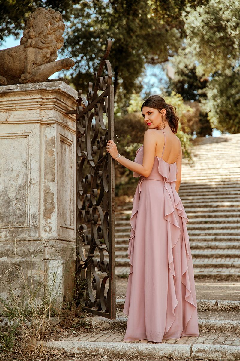 larisa costea, larisa style,larisa in rome,larisa in italy, italy, bella italia, italia, roma, villa doria pamphili,park,parc, fountain, green maze,maze garden, elegant dress, wedding guest dress, bridesmaid dress, ever pretty, ever pretty dress, ali express, ever prettyshop, rochii de ocazie, rochii de nunta, domnisoare de onoare,rochii elegante, rochii lungi, llong dress,prom dress, pink dress, blush pink, ruffled dress, volane,anna cori black sandals, sandalenegre, tinuta de nunta, up do, wedding style, streets of rome,parks of rome, elegant style,ootd,outfit inspiration, wedding 2018