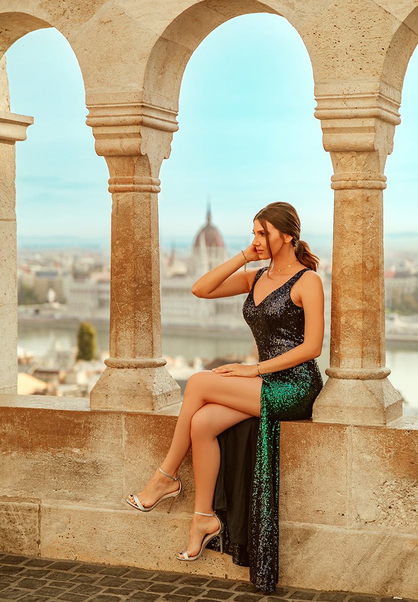 larisa costea,larisa costea blog, the mysterious girl, larisa in hungary, larisa in budapest,budapest,buda, budapesta, city breakin budapest,what to see in budapest, fisherman's bastion,matthias church,bloggers in budapest,parliament,budapest parliament, danube, byda castle, ungaria, ever pretty,evening gown, evening dress, sequined dress,sequins, ombre sequins, silver sandals , steve madden sandals, elegant dress