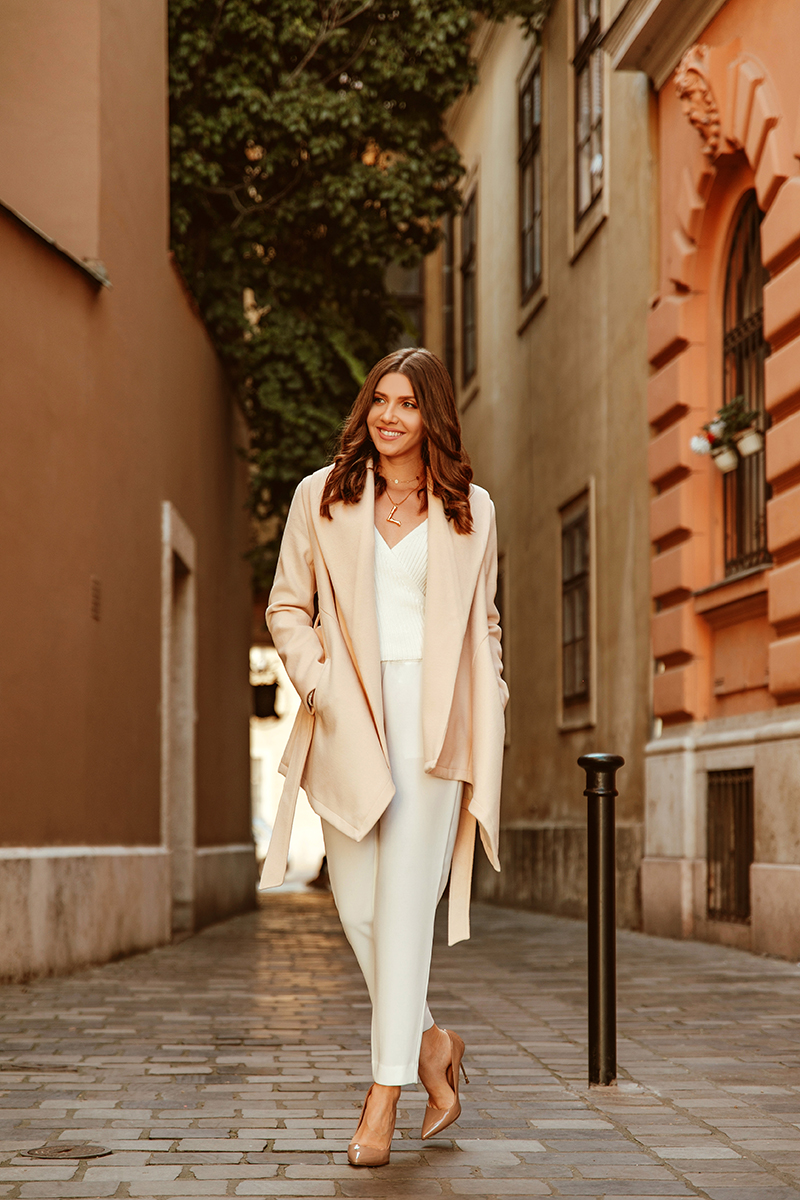 larisa costea.larisa style, larisa in budapest, larisa costea blog, ashion blogger, fashion log, travel blogger, travel blog, liestyle, budapest parliament, budapest, cuty reak, furst coar this season, chicwish coat, asymmetrical coat, beige coat, all white, white wrap sweater, na-kd sweater, stefanel pants, white pabts, nude stilettos,kurt geiger, sales shopbop, chanel bag, vintage chanel, buda