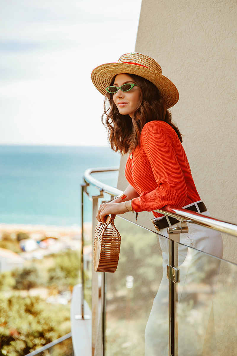 larisa costea, larisa style,larisa in montenegru,muntenegru,montenegro, summer holiday, belvedere residence, belvedere residence becici, becici, kotor,kotor bay,perast,budva, sveti stefan,nakd fashion, summer outfit, transitional outfit, summer-fall, new season, nakd, discount code, 20off, larisac_20, sales, straw hat, asos, summer sweater,one shoulder sweater,orange sweater, tangerine, larsia travels, travel the world, euro trip, road trip, micro sunglasses, asos green sunnies, whote asos jeans, zara jeans, cult gaia bag, mini ark nag, shopbop, bamboo bag, soludos slippers, slides, gucci belt, best view, belvedere, terrace, balcony view, pool, best vacation, est destinations, best hotels, luxyry apartments, fun, friends, summer, sun, best weather, happy