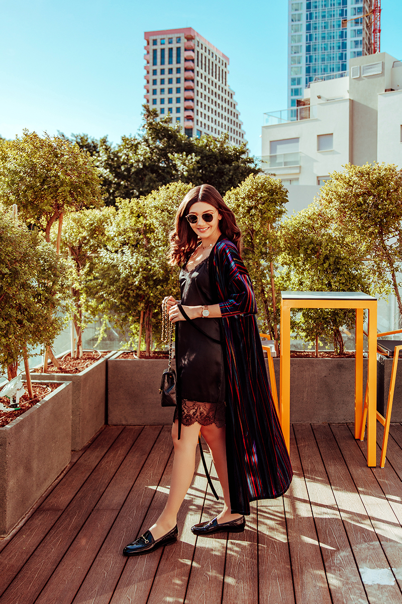 lrsa costea,larisa in israel, larisa style,larisa costea, blog, fashion blog, travelblog, traveler, visit israel, israel, tel aviv, by 14 telaviv,hotels in tel aviv,best hotels, beautiful destination, best holiday,cavation,december 2018, warm places to visit during winter, travel tips, breakfast, rent a bike, lobby, black cami dress, ray ban sunglasses, sunnies,velvet kimono, zara, chanel bag,vintage chanel, shopbop, sam edelman shoes, mules, sam edelman slippers, loafers,woman loafers,gucci loafers, look a like, cheaper version of gucci loafers, leather loafers, patent leather, lob, curls, it girl, travel girls, best sunset, sunset, sky scrapers, coffee