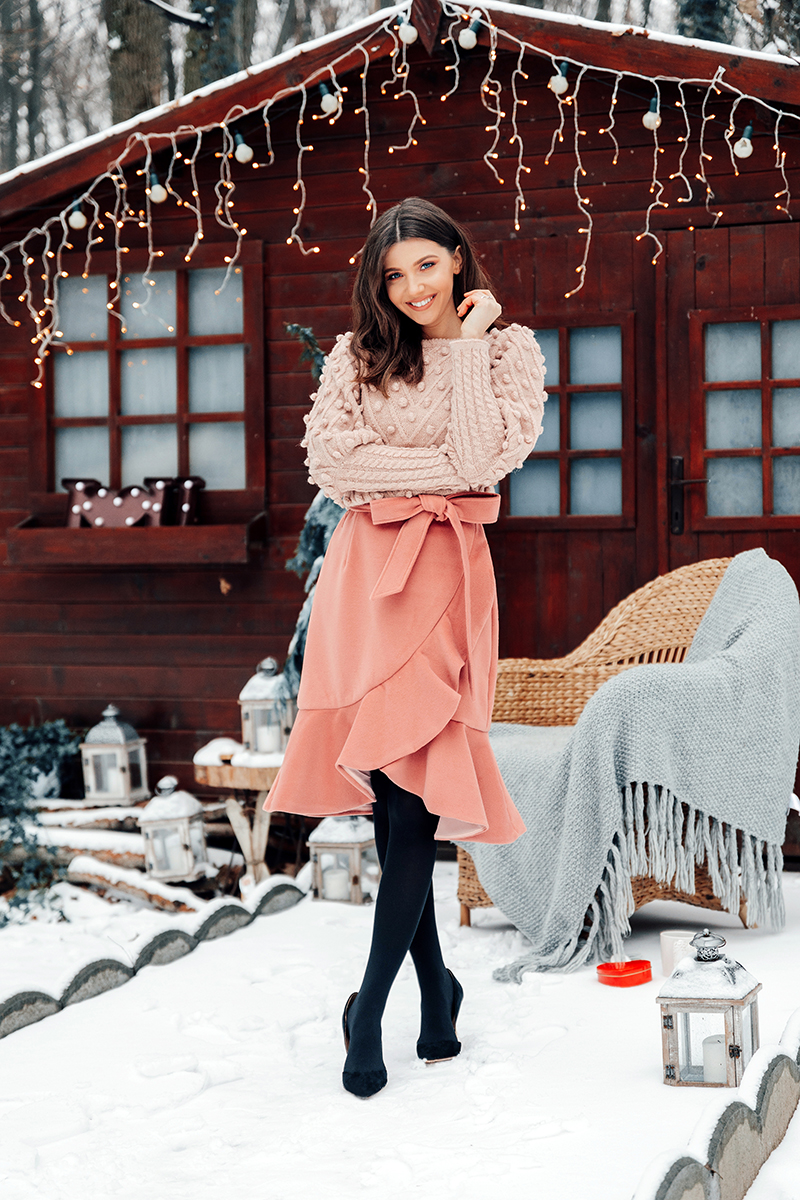 larisa costea,larisa costea blog, larisa style, winter wonderland,blossomfloraldesign,blossom, cabin, cottage, winter date, winter scenery, valentine's day, valentines, pink sweater, pink skirt, ruffled chicwish skirt, winter skirt, wool skirt, pink chicwish sweater,pom pom sweater, feminine sweater,chicwish,new arrivals, romatic, chic look, femine date outfit, what to wear,outfit inspiration