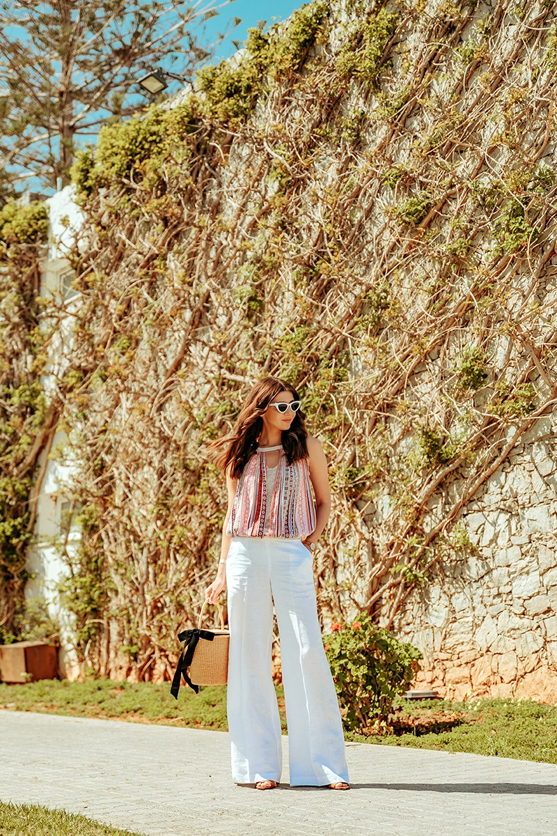 larisa costea, larisa style, larisa costea blog, travel blog, fashion blog, blogger, europeean, romanian blogger, blogger roman, travel, crete, creta, greece, viisit greece, civitel hotels, civitel group, creta beack heraklion, creta beach, akadi, chania, resort, all inclusive, stefanel, stefanel about town, stefanel outfit, white linen pants, multicolored top. ootd, outfit inspiration, hotel, best hotels, best destination, best vacation, holiday, trip, holiday ideas 2019, white sunnies, bucket bag