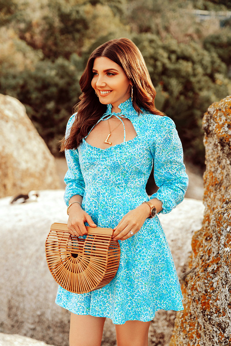 larisa costea, larisa costea blog, larisa style, larisa in south africa, south africa, africa de sud, pinguini, penguins, pengu, pingu, creatures, animals, mamals, beautiful animals, birds, boulders beach, boulders, la maison de confiance, travel blog, fashion blog, oots, summer dress, summer outfit, rochie, rochie scurta, rochie de vara, short dress, floral print, blue dress, babt blue, rochie albastra, curls, adrian, couple pics, love, shooting, outfit inspiration, shopbop, steven slides, slippers, white leather slippers, cult gaia bag, cult gaia, ark bag, bamboo bag, cape town, simons town