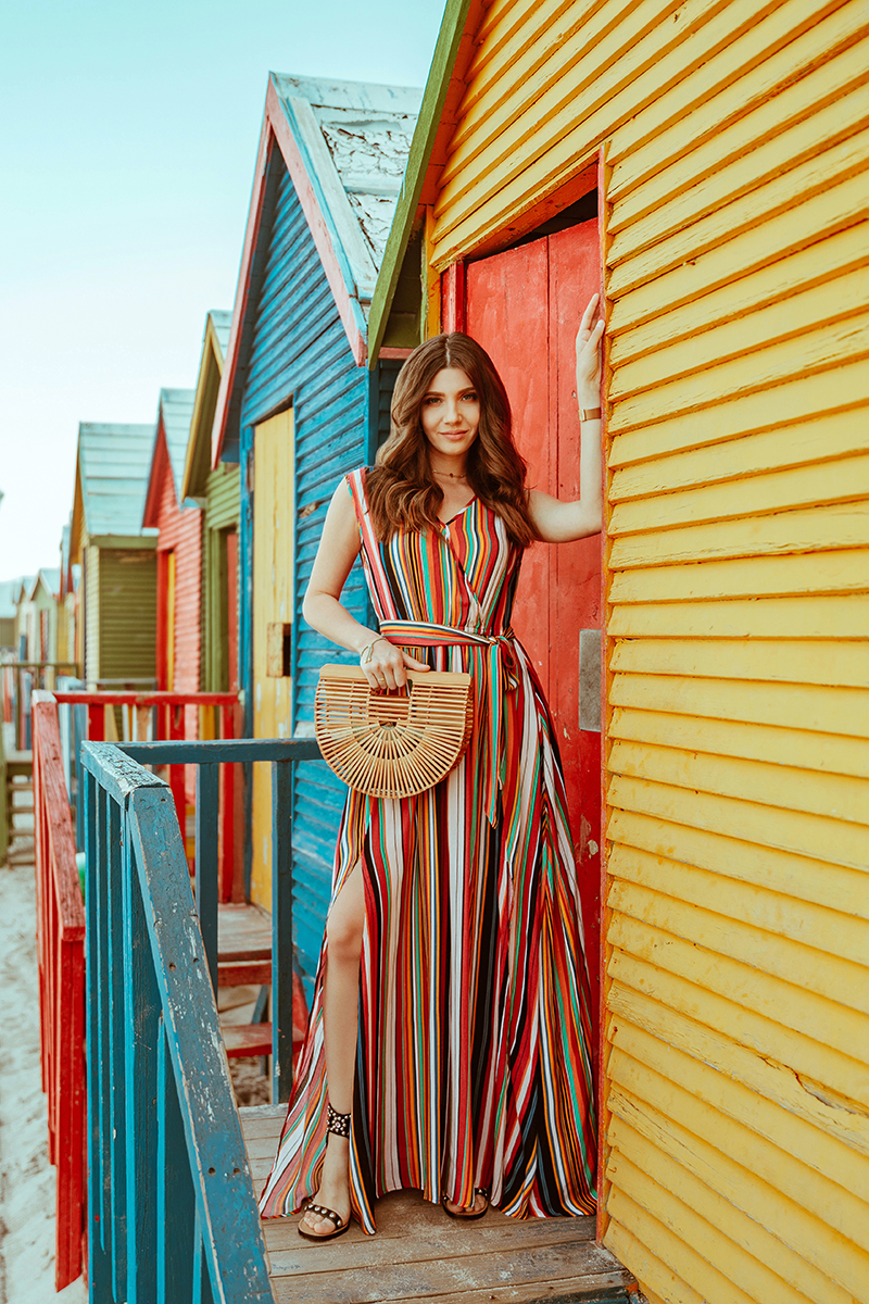 larisa costea, larisa costea blog, fashion blog,blogger,romanian blogger,european blogger, south africa, africa de sud, travel, traveler, lifestyle,muizenberg, beach huts,colourful beach houses, cladiri colorate, rochie chicwish, chicwish dress, chicwish, striped dress,multi color dress, summer dress, summer outfit , beach, sea, ocean, atlantic ocean, soft curls, cult gaia, shopbop