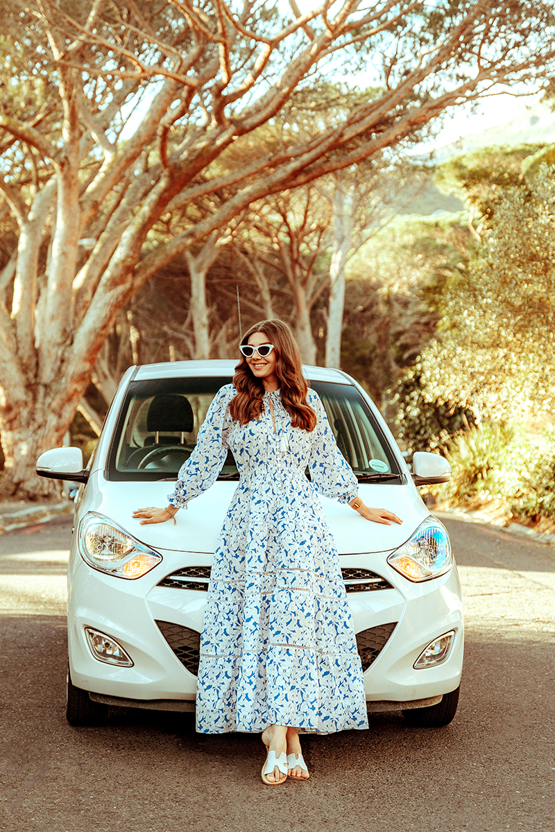 larisa costea,larisa costea blog, fashion blog, travelblog,south africa, travel, traveler,road trip, cape town,safari, outdshoorn, game reserve, chicwish dress,around about cars, car rental, car hire, best deals, automatic car,small car,practical, driving, driver, maxi dress, ootd, steven slides, slippers, shopbop, cult gaia,white and blue dress, porcelain dress