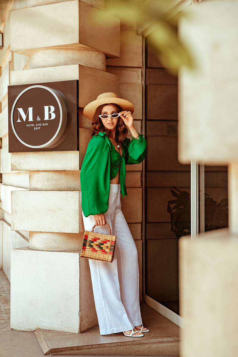 larisa costea,larisa style,larisa in spain, larisa costea blog, fashion blog, travel blog, traveler, valencia,malcom & barret,malcom and barret,hotel,hotel review, best hotels,best destination, best vacation, restaurant,lounge, green top, white linen pants, straw hat, zara white shirt, zara denim shorts, white sunnies,micro sunglasses, straw bag from portugal, cocktails, best lounge, best restaurant, espagna, summer 2019, summer destination,city center