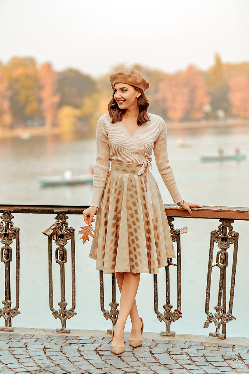 larisa costea, larisa costea blog, larisa style, autumn outfits, fall looks, fall outfit, elegant look, chic, chicwish, a line skirt, midi skirt, wrap sweater, beige sweater, chicwish sweater, berret, asos berret, french look, fall, autumn, rusty leaves, bucharest, bucurestu, herastrau, stilettos, beige heels, all beige look, neutrals, nude