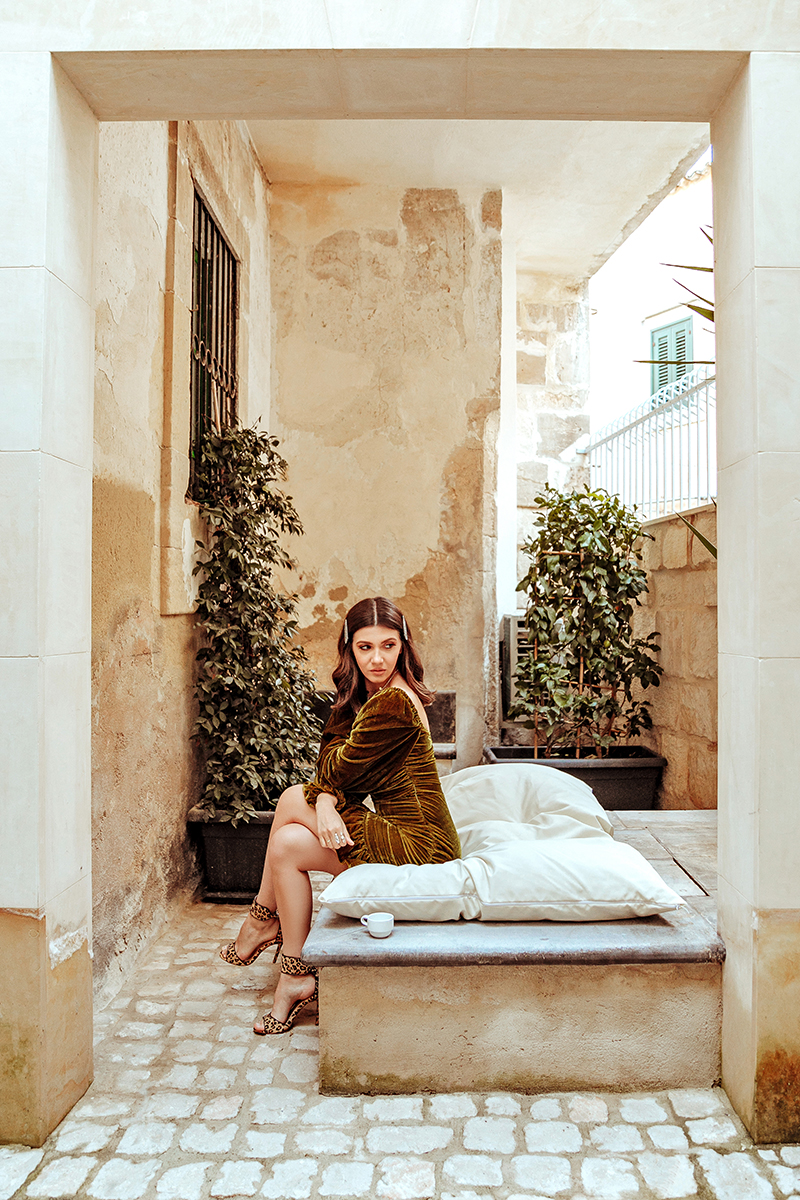 larisa costea, larisa style, larisa in italy, larisa in sicily, larisa costea blog, domus sbircio, modica, sicilia, visit sicily, travel blog, fashion bog, interior design, best deco, old and new, old building, unescu, streets of modica, best destination, best location, revolve, velvet dress, tularosa, revolvve me, revolve social ckub, revolve around the world, autumn ootd, fall ootd, outfit inspiration, glam outfit, anna dumitru hair clips, accessories, leopard print sandals, booking, best hotels