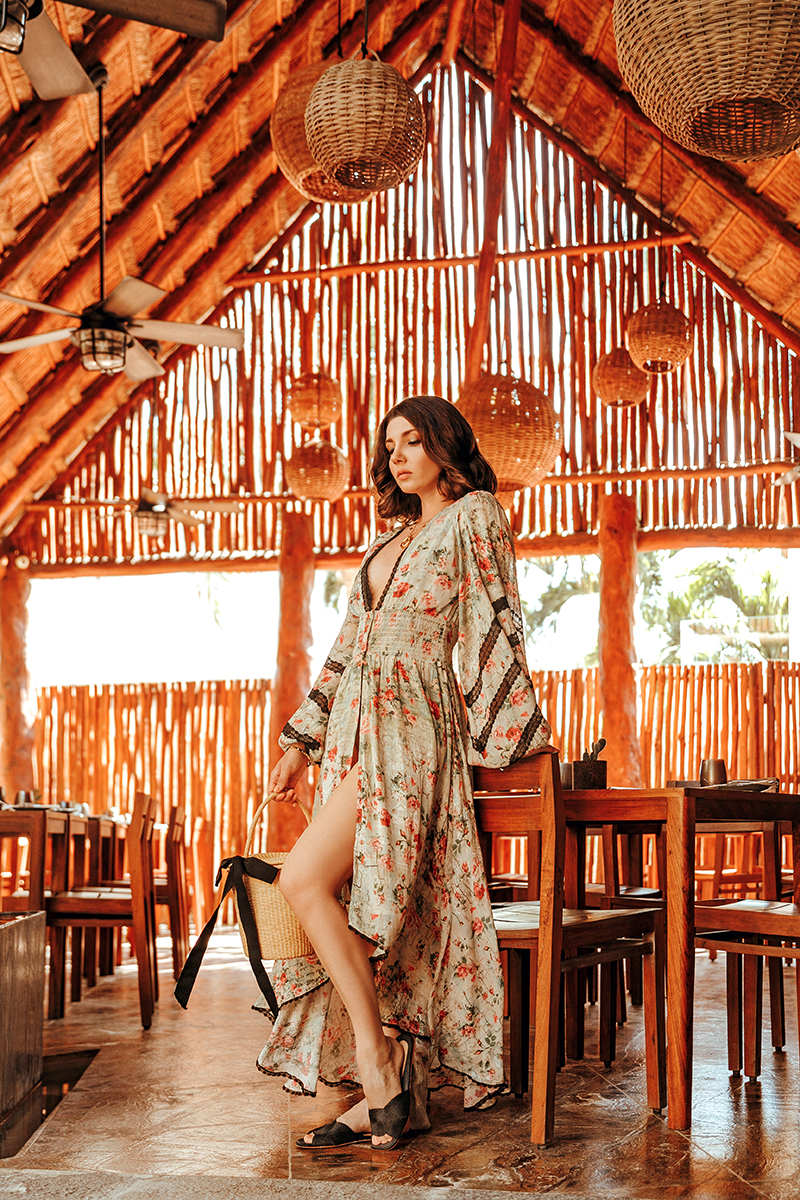 larisa costea, larisa costea blog, larisa in mexico, mexico, best hotels, best destination, best location, best vacation, holiday 2020, spring in mexico, mexic, tulum, alea tulum, gorgeous hotel alea tulum, ocean view, best room, best food, restaurant, relax chil, palm trees, coconut, rococo sand dress, beach dress, resort dress, floral print dress, bathing suit, bucket bag, straw bag, sensi studio, raye slides, straw slippers, curly hair, rayban sunglasses, shopbop, revolve, revolvearoundtheworld
