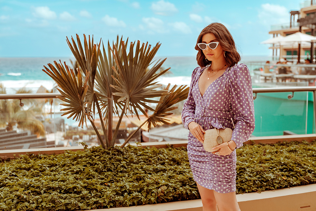 larisacostea, larisa costea blog, larisa style, larisa in mexico. mexic, mexico, cancun, hard rock hotel cancun, hard rock hotel, rockstar, fun, vacation, best destination, best vacation, beautiful locations, best hotels, all inclusive, best food, best services, palm trees, pool, pacific ocean, blue ocean, lpa dress, polka dots dress, purple dress, summer dress, holiday dress, white frame sunnies, white sandals, steve madden, kayu straw clutch, summer ootd, summer outfit, best dressed, outfit inspiration, hotel rewiew, hard rock hotel review, spa, masagge, chill day