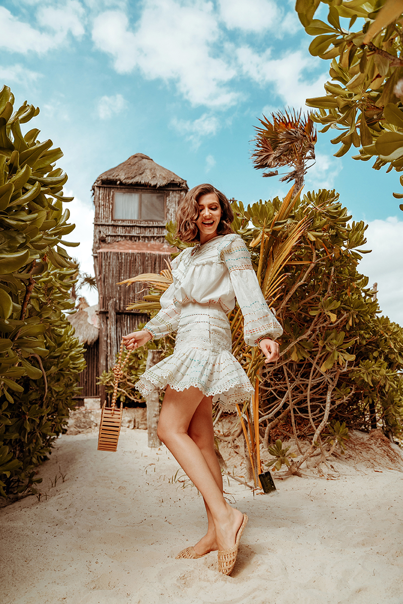 larisa costea, larisa style, larisa travels, south america, mexic, mexico, tulum, tulum reservation, pocna, pocna beack, largest beach in tulum resrvation, pocna tulum beach hotel, beach hotel, paradise, best destination, best location, vacation 20202, march 2020, larisa style, hermant and nandita, island style, holiday style, holiday outfit, white dress, white set, mexican, mexicana, bamboo round bag, handmade straw slides, summer look, summer outfit, summer outfit inspiration, nature, ocean, atlantic ocean, caribbean sea