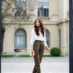 Silky khaki pants
